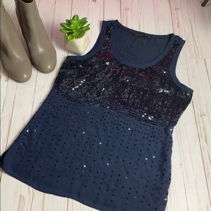 LIKE ♦️NEW♦️LIMITED NAVY SEQUINED TANK SZ M